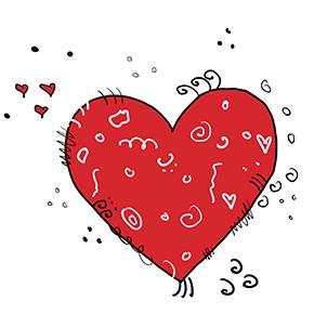 original colorano Zeichnung eines roten Herzens mit freundlichen Verzierungen
