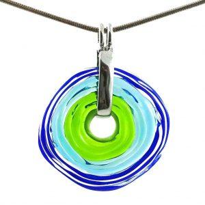 Wechselschmuck - Moderne blaugrüne Kette aus Muranoglas - handmade Geschenk