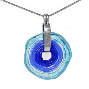 Wechselschmuck - Moderne türkis blaue Kette aus Muranoglas - handmade Geschenk