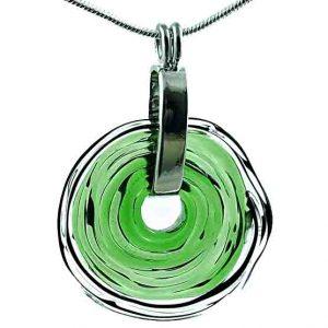 Wechselschmuck - Moderne grüne Kette aus Muranoglas - handmade Geschenk