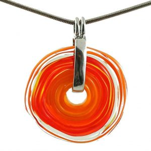 Wechselschmuck - Moderne orange Kette aus Muranoglas - handmade Geschenk