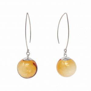 Moderne Hohlperlen-Ohrringe in Amber aus Muranoglas - handmade Geschenk