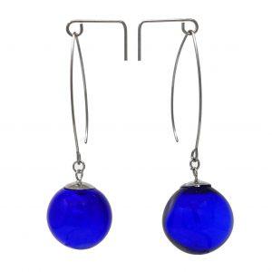 Moderne Hohlperlen-Ohrringe in Blau aus Muranoglas - handmade Geschenk
