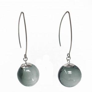 Moderne Hohlperlen-Ohrringe in Grau aus Muranoglas - handmade Geschenk