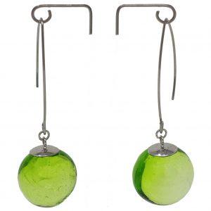 Moderne Hohlperlen-Ohrringe in Grün aus Muranoglas - handmade Geschenk