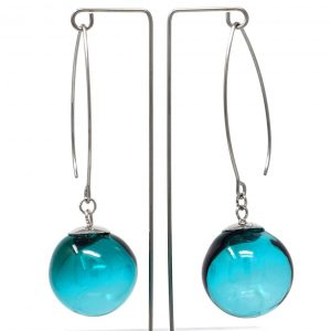 Moderne Hohlperlen-Ohrringe in Petrol aus Muranoglas - handmade Geschenk