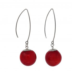 Moderne Hohlperlen-Ohrringe in Rot aus Muranoglas - handmade Geschenk