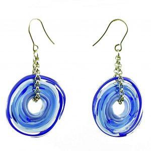Moderne Ohrringe in Blau aus Muranoglas - handmade Geschenk