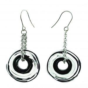 Moderne Ohrringe in Grau aus Muranoglas - handmade Geschenk