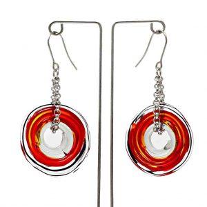 Moderne Ohrringe in Rot aus Muranoglas - handmade Geschenk