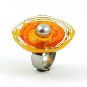 Moderner Ring in Gelb aus Muranoglas - handmade Geschenk