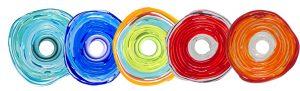 Kollektion von verschiedenfarbigen colorano Schmuck-Scheiben aus Muranoglas - natürlich nickelfrei