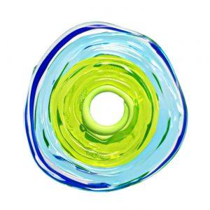 Wechselschmuck von colorano - Moderne Scheibe in Blau Grün aus Muranoglas - handmade Geschenk