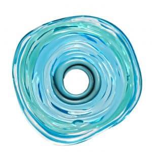 Wechselschmuck von colorano - Moderne Scheibe in tuerkis aus Muranoglas - handmade Geschenk