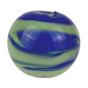 blaue rundperle aus muranoglas mit gruenen eingelassenen streifen handgefertigt von der colorano glas-schmuck-manufaktur