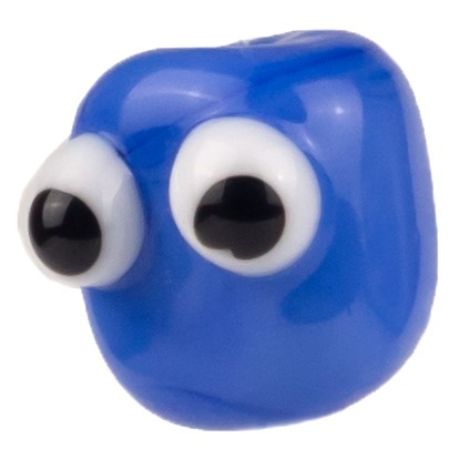drollige glasfigur aus blauer glasperle mit schwarz-weissen glubschaugen handgemacht von der colorano glas-schmuck-manufaktur